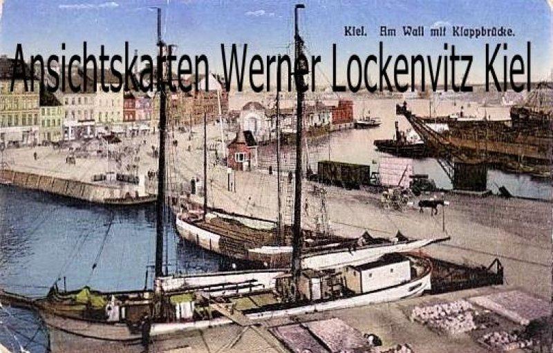 Ansichtskarte Kiel Am Wall mit Klappbrücke