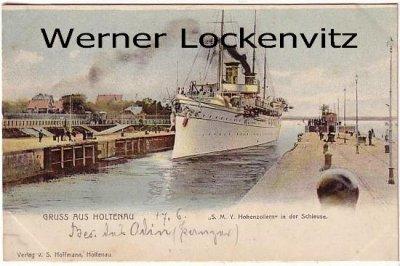 Ansichtskarte Kiel-Holtenau SMS Hohenzollern in der Schleuse