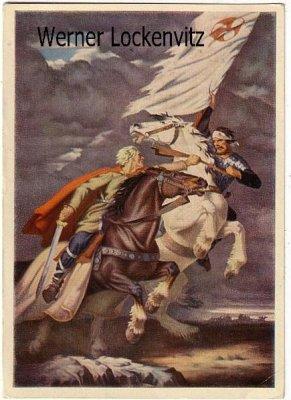 Ansichtskarte Haus der Deutschen Kunst HDK Nr. 198 Um die Fahne von Herbert Kampf Pferde