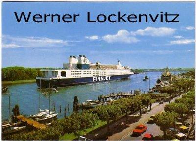Ansichtskarte Travemünde Passagierfährschiff Finnjet beim Einlaufen in den Hafen