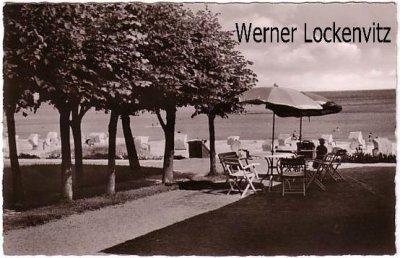 Ansichtskarte Grömitz Sonnenschirm Terrasse Strand-Idyll