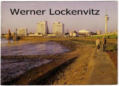 Ansichtskarte Bremerhaven Spaziergänger am Deich