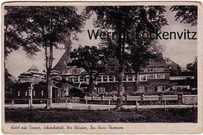 Ansichtskarte Schwabstedt Schleswig-Holstein Hotel zur Treene Bes. Hans Thomsen
