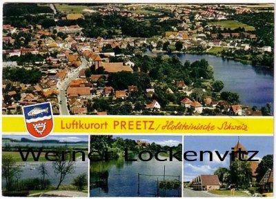 Ansichtskarte Preetz in Holstein mehrfach Panorama Wappen