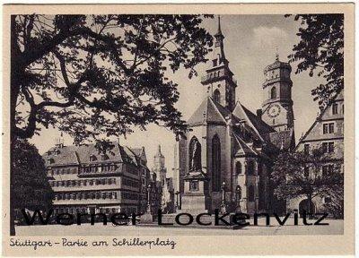 Ansichtskarte Stuttgart Partie am Schillerplatz