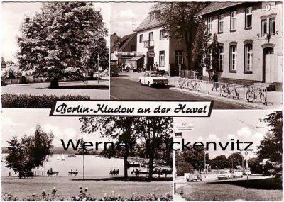 Ansichtskarte Berlin-Kladow Straßen See Baum Apotheke