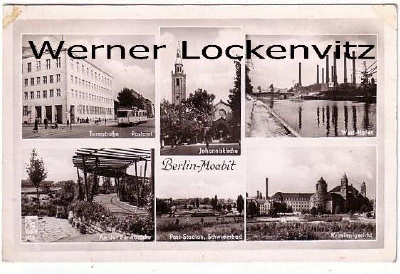 Ansichtskarte Berlin-Moabit Turmstraße mit Straßenbahn Postamt Stadion