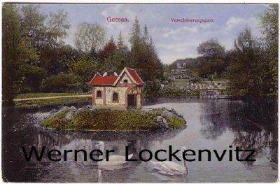 Alte Ansichtskarte Polen Posen Gnesen Gniezno Verschönerungspark