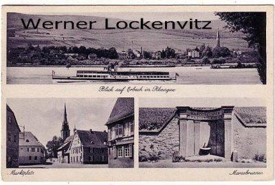Ansichtskarte Eltville-Erbach mehrfach Panorama Marktplatz Marcobrunnen