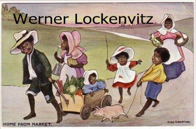 Ansichtskarte Postcard USA Rückkehr vom Markt