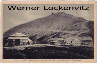 Alte Ansichtskarte Schneekoppe Schlesierhaus Schronisko Dom Śląski im Riesengebirge