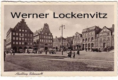 Ansichtskarte Flensburg Südermarkt mit Beamtenbank