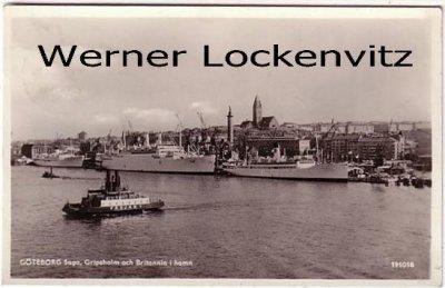 Ansichtskarte Vykorten Schweden Sverige Göteborg Saga Gripsholm och Britannia i hamn