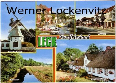 Ansichtskarte Leck Nordfriesland mehrfach Mühle Hauptstr.
