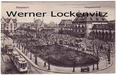 Ansichtskarte Düsseldorf Hauptbahnhof mit Straßenbahn