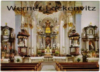 Ansichtskarte Amorbach Kath. Stadtpfarrkirche St. Gangolf Blick zum Hochaltar
