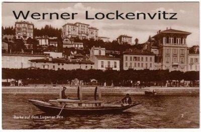 Ansichtskarte Schweiz Lugano Barke auf dem Luganer See Häuser Tessin Foto