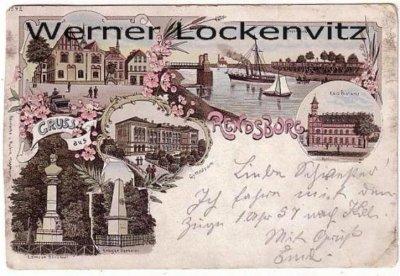Ansichtskarte Rendsburg Gymnasium Postamt Drehbrücke Litho