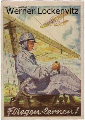 Alte Ansichtskarte Fliegen lernen Werbekarte von Axter Heudtlaß Luftfahrt
