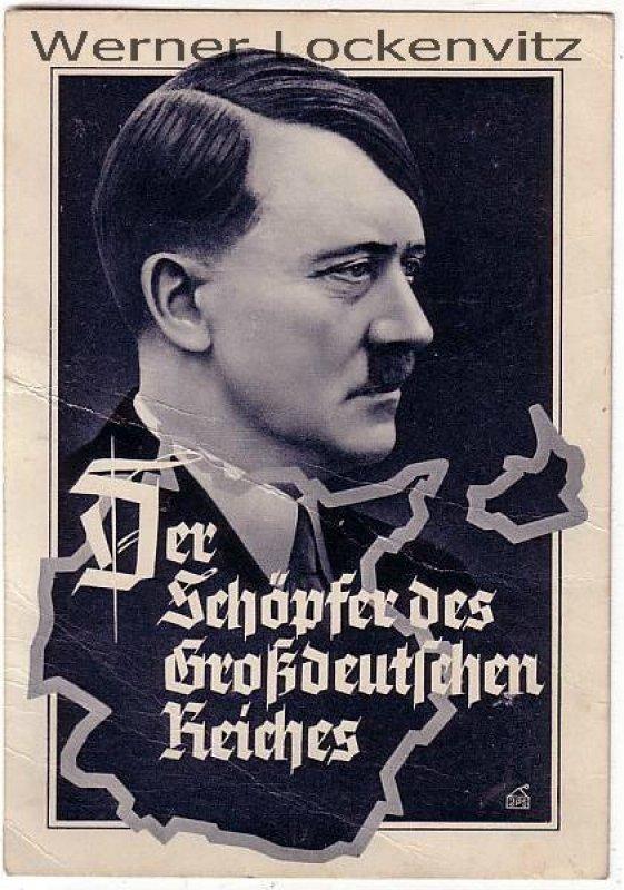 Ansichtskarte Adolf Hitler Der Schöpfer des Großdeutschen Reiches Sonderstempel Prag 50. Geburtstag Vignette Prag