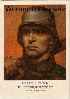 Ansichtskarte Tag der NSDAP im Generalgouvernement mit Sonderstempel