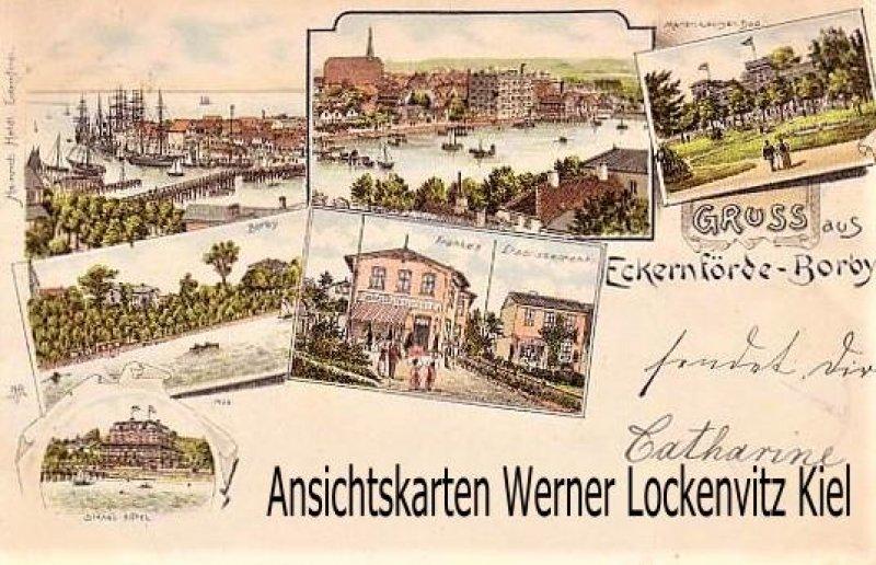 Ansichtskarte Eckernförde-Borby Hafen Strand-Hotel Franke's Etablissement Litho