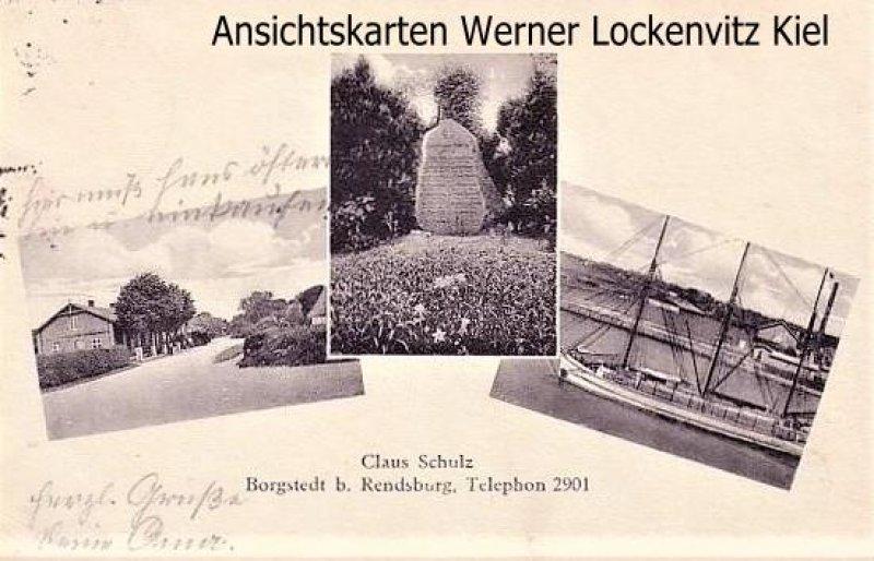 Ansichtskarte Borgstedt bei Rendsburg mehrfach Straßenansicht Gedenkstein Kanal