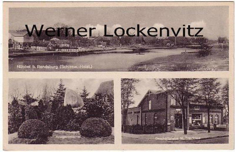 Ansichtskarte Nübbel bei Rendsburg Geschäftshaus von M. Trautrims