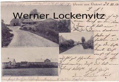 Ansichtskarte Osdorf bei Kiel Ortsstraße Schulhäuser Gasthaus Von F. Dibbern