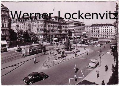Ansichtskarte Schweiz Zürich Bahnhofplatz mit Straßenbahnen