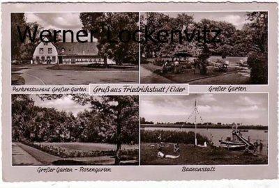 Ansichtskarte Friedrichstadt Parkrestaurant Großer Garten Badeanstalt mit Landpoststempel Rehm