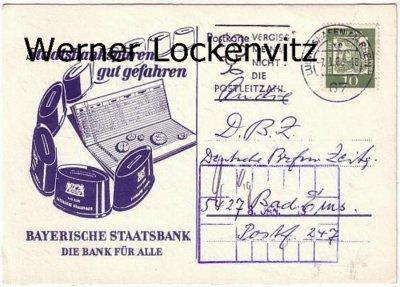 Postkarte Bayrische Staatsbank Staatsbanksparen gut gefahren mit Spartöpfen