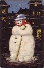 Ansichtskarte Viel Glück im neuen Jahre Schneemann im Dunkeln mit MSP Nr. 431 Sperrbrecher Dania Schiffspost