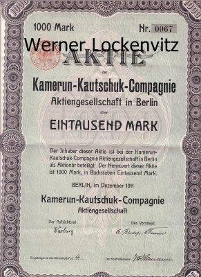 Kamerun-Kautschuk-Compagnie Aktie 1000 Mark