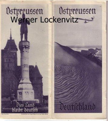 Ostpreussen Reise Prospekt 6 Seiten gefaltet mit Landkarte