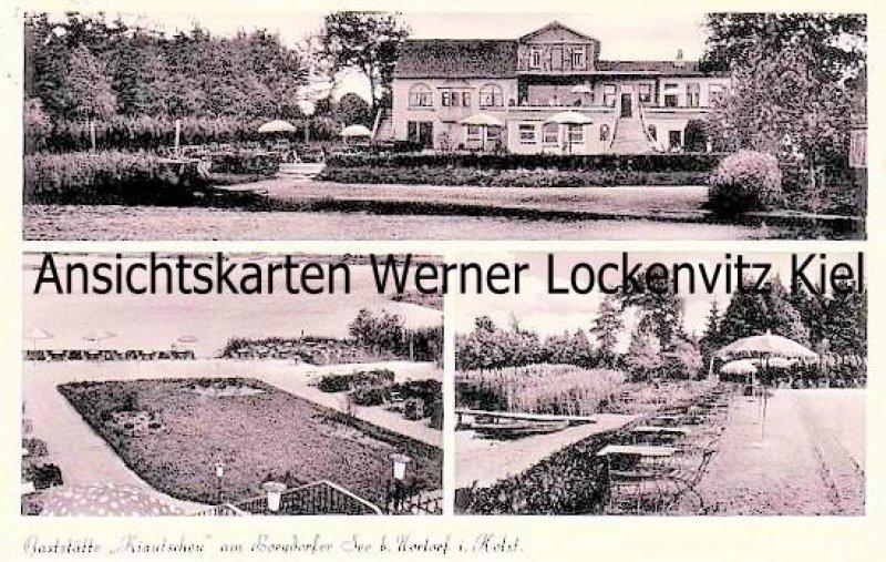 Ansichtskarte Borgdorf bei Nortorf Gaststätte Kiautschou am Borgdorfer See Bes. Robert Harder mit Landpoststempel