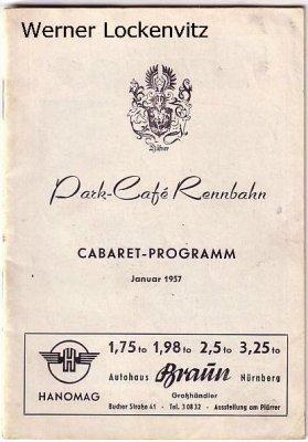 Nürnberg Park-Cafe Rennbahn Cabaret-Programm Januar 1957
