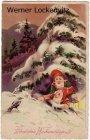 Alte Ansichtskarte Weihnachten Herzlichen Weihnachtsgruß Zwerge unterm Tannenbaum im Schnee