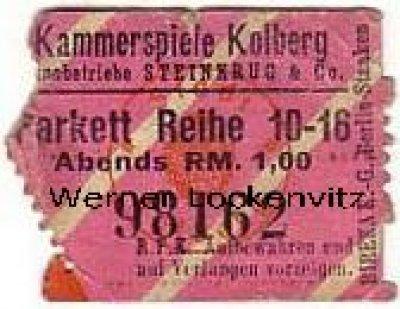 Kolberg Kolobrzeg cinema Kammerspiele admission ticket abt. 1935
