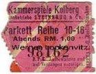 Kolberg Kolobrzeg Kammerspiele Eintrittskarte Kino