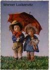 Ansichtskarte Käthe Kruse Zwei Puppen mit Regenschirm Puppen PMB Nr. 250/1
