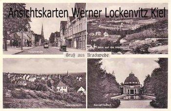 Ansichtskarte Bielefeld-Brackwede Hauptstraße mit Straßenbahn Panoramen