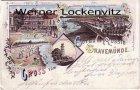 Ansichtskarte Lübeck-Travemünde Hotel de Russie Panorama Strandpartie Litho