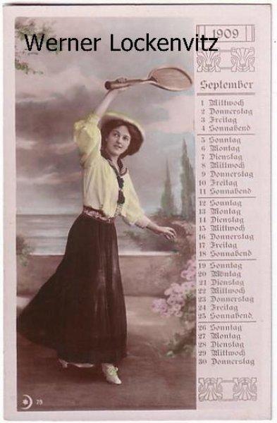 Ansichtskarte Frau spielt Tennis Monatskarte September 1909