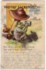 Ansichtskarte Frosch trinkt Bier unter einem Pilz