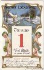 Alte Ansichtskarte Neujahr Engel Winterlandschaft Prägedruck