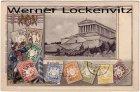 Alte Ansichtskarte Regensburg Donaustauf Walhalla Briefmarken Postillion