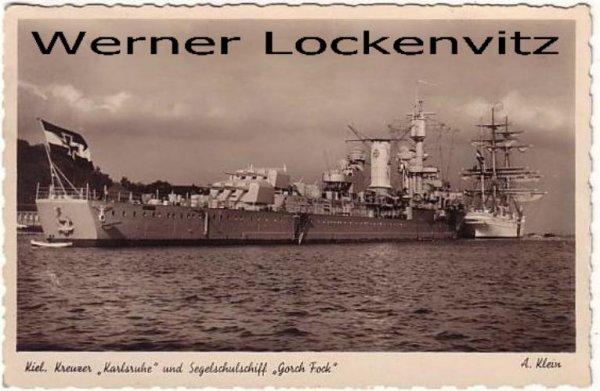 Ansichtskarte Kiel Kreuzer Karlsruhe und Segelschulschiff Gorch Fock