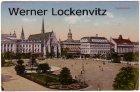 Ansichtskarte Leipzig Augustusplatz Stempel Schkeuditz feine Pelzveredelung mit Fuchsfell