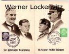 Ansichtskarte Adolf Hitler und Neville Chamberlain Zur historischen Begegnung 1938 in München Klappkarte mit Sonderstempel